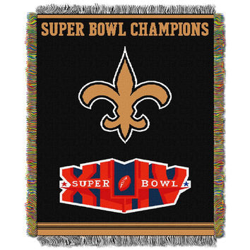New Orleans Saints NFL Super Bowl Commemorative Woven Tapestry Throw (48x60)