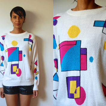 Vtg Abstract Print White Retro Knit Sweater