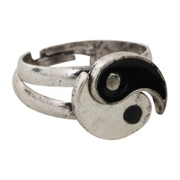LOVEsick Burnished Silver Tone Yin-Yang Ring 2 Pack