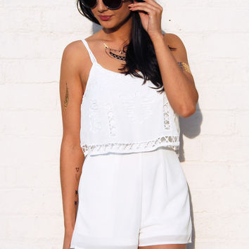 Strappy Overlay Top Lattice Cutout Playsuit in Off White