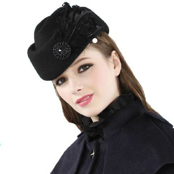 Russain Hotselling Luxury Feather Stewardess Cap Woman Fedora Hat Female Fashion Solid Wool Vintage Warm Hat