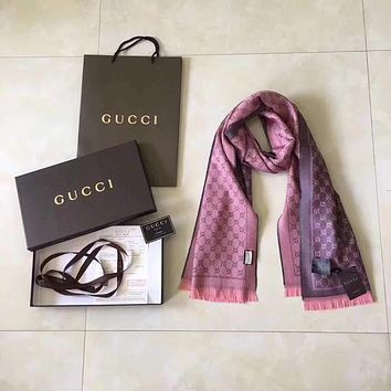 """Gucci"" Women  Fashion Multicolor Logo Letter Two Sides Tassel Cashmere Shawl Wnter Scarf"
