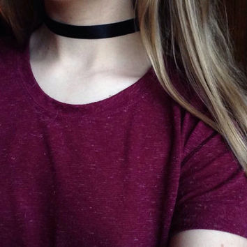 Plain Black Ribbon Adjustable Choker