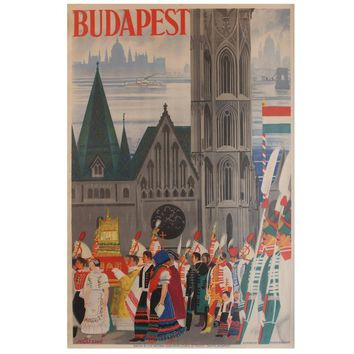 Original 1930s Art Deco Travel Advertising Poster for Budapest by Jeges Erno