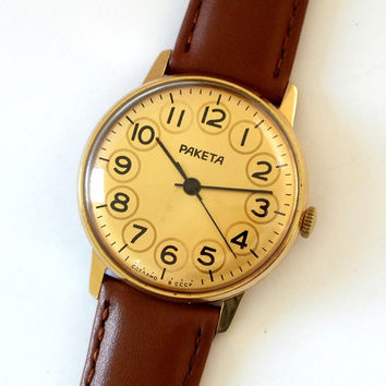 Rare Mens Watch RAKETA Gold Plated. Vintage Unisex Watch Leather Strap. Slim Mens, Womens Watch. Yellow Dial  Wristwatch. Gift For Her.