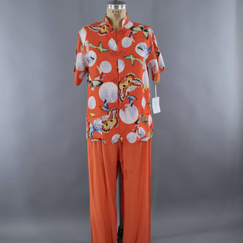 Vintage 1940s Pajamas Set / Orange Butterflies Novelty Print