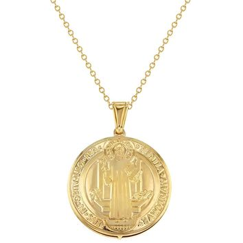 """18k Gold Plated Saint Benedict Necklace Pendant Reversible Religious Medal 19"""""""