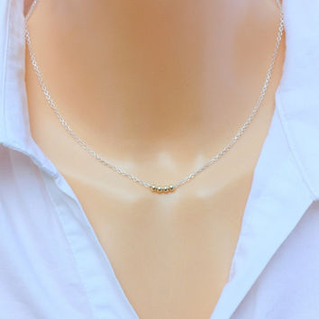 Tiny Bead Necklace - tiny gold beads on sterling silver necklace, minimalist jewelry, gold and silver necklace,Thin gold necklace