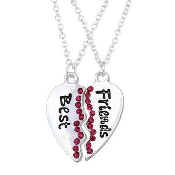 Women 2 Pc Silver Plated Pink Crystal Best Friends Broken Heart Pendant Necklace