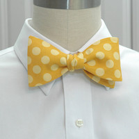 Men's Bow Tie in gold with yellow polka dots