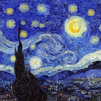 'A Starry Night Van Gogh Mountain Inspiration' by Angelinas