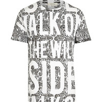 River Island MensWhite walk on the wild side slogan t-shirt