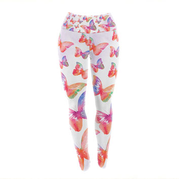 "Li Zamperini ""Butterfly"" Pink Lavender Yoga Leggings"
