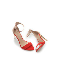 ZARA Combined Red/Coral Sandal With Gold Metal Heel Sandal Shoe UK6/EUR39