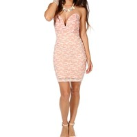 Peach/Ivory Plunging V Lace Short Dress