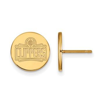 NBA 14k Yellow Gold Plated Silver Los Angeles Clippers Disc Earrings
