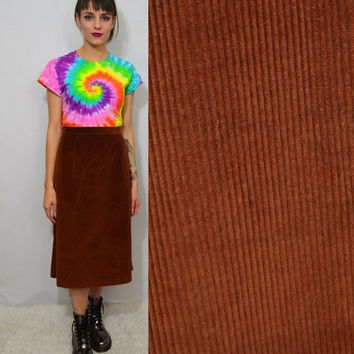 70s Brown Corduroy Skirt Small Highwaist Hipster Boho Hippie Tea Length Skirt Vintage Womens Clothing 26 27 Retro Fitted Cute Tan Cognac