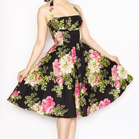 Rockabilly Girl by Bernie Dexter**Dark Tea Room Frenchie Halter Swing Dress - Unique Vintage - Cocktail, Evening  Pinup Dresses