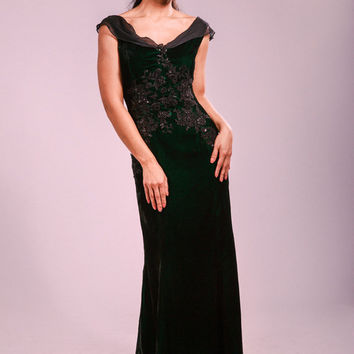 Evening dress, handmade, velvet, lace appliques, maxi dress, black silk sash, party dress