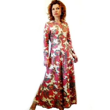 Vintage 1960s Glamour dress PUCCI Made in Italy Dress Psychedelic Silver Lurex Paisley, Party Prom Dress