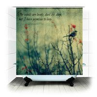 Fabric Shower Curtain  -The Woods -  Photography, bathroom, home, decor, bird, branches, tree