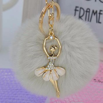 Chic Silver Gray Faux Rabbit Fur Pom Pom with Crystal Balerina Charm Key Fob Keychain Gold Tone