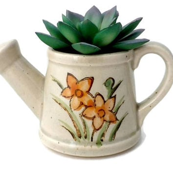 Small Succulent Planter - 2.25 inches, Pottery Watering Can, Pottery Succulent Planter, Small Planter, White Succulent Planter, Vintage