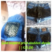 Gold leopard print studded shorts