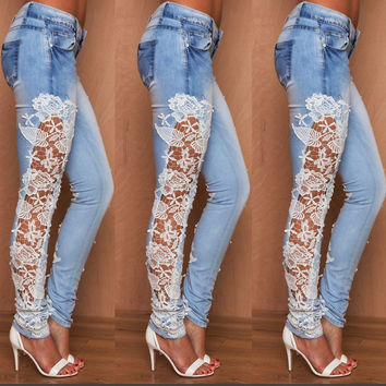 Elastic Lace Patchwork Slim Sheath Sexy Jeans