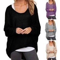 Plus Size Womens Batwing Shirts Blouses Loose Long Sleeve Baggy Jumper Tops XXXL