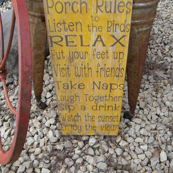 Vintage Style Porch, Deck, Patio Rules Typography Word Art Sign