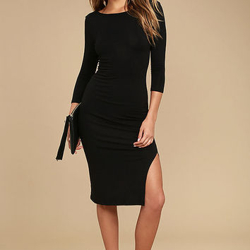Elegant Artistry Black Bodycon Midi Dress