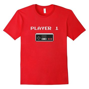 Player 1 buddy Retro style video game T-shirt (Old School)