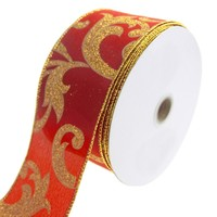 Joanne Glitter Scroll Wired Christmas Holiday Ribbon, Red/Gold, 2-1/2-Inch, 20 Yards