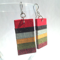 Striped Handmade Hanji Paper Dangle Earrings OOAK Striped Red Grey Yellow Green Hypoallergenic hooks Lightweight