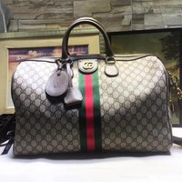Gucci new fashion classic striped fabric camel printing luggage bag hand bag
