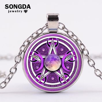 SONGDA Charm Purple Triple Moon Goddess Pendant Pentagram Necklace Wicca Protection Crescent Moon Supernatural Amulet Necklace