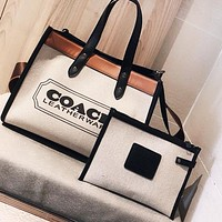 COACH Women Shopping Bag Canvas Shoulder Bag Handbag Tote Satchel Wallet Purse Set Two Piece