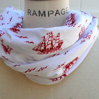 Skinny Infinity Scarf FREE SHIPPING Red Sailing Ship White Color Circle Loop Soft Lightweight Scarf- By PIYOYO