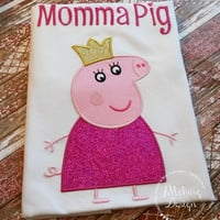 Peppa Pig Family Queen Mummy Pig Birthday Custom Tee Shirt - Customizable -   Adults