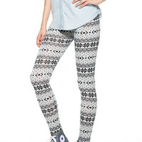 Black & White Sweater Knit Leggings - Black Multi
