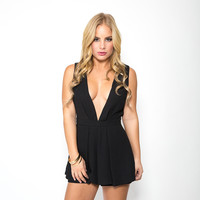 Off The Record Romper In Black