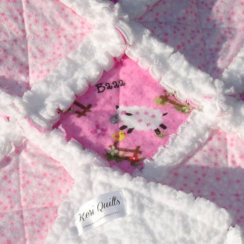 Baby Girl Rag Quilt Blanket  - White, Pink - Lamb, Sheep - Soft and Fluffy - Shabby Chic