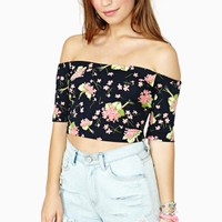Betsey Johnson Bouquet Crop Top - Black