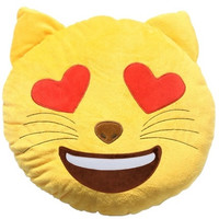EMOJI CAT HEART EYES PILLOW