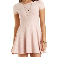 Short Sleeve Textured Skater Dress by Charlotte Russe