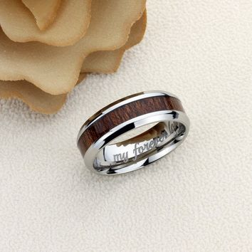 Promise Ring Titanium Wedding Band Ring Men Women Unisex 8mm Wood Grain Inlay Beveled Edges Ring Inside Custom Engraving - ZTUR135
