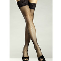 Fishnet Backseam Lace Top Thigh High