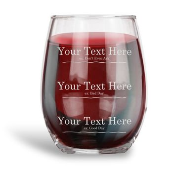 Personalized Funny Measuring Stemless Wine Glass Engraved  Wine Glass with Your CUSTOM TEXT 3 Lines - Humor Drinkware, Funny Gift