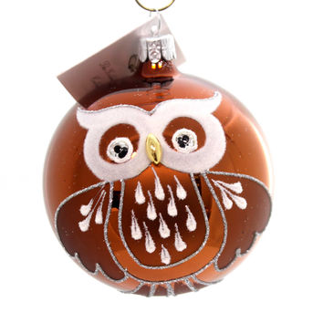 Golden Bell Collection Mcm Ball Owl Glass Ornament